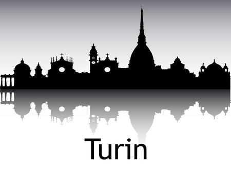 Panoramic Silhouette Skyline of the City of Turin, Italy