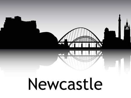 Panoramic Silhouette Skyline of the City of Newcastle, England Illustration