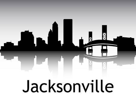 Panoramic Silhouette Skyline of the City of Jacksonville, Florida