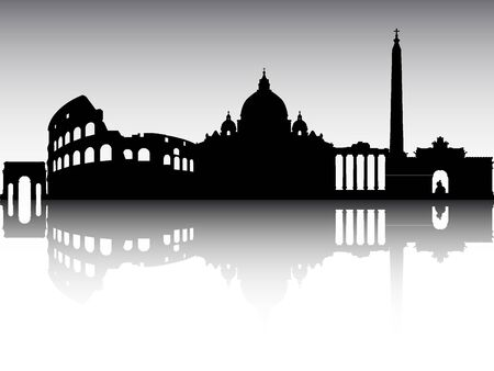 Panoramic Silhouette Skyline of the City of Rome, Italy Archivio Fotografico - 134326652