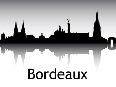 Panoramic Silhouette Skyline of the City of Bordeaux, France
