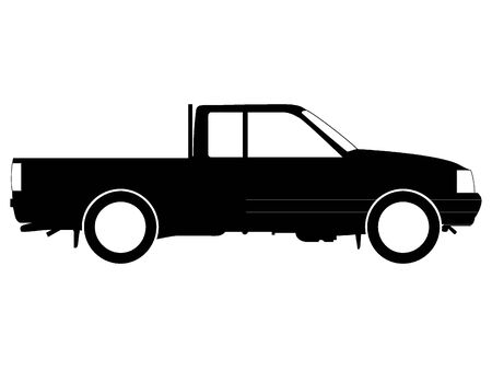 Black Pickup Truck Silhouette Drawing
