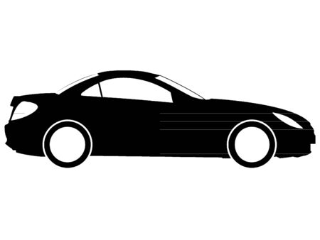Black Sports Coupe Silhouette Drawing 矢量图像