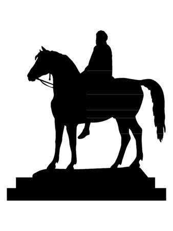 Black Silhouette of Symbol of London - Statue of George IV at Trafalgar Square