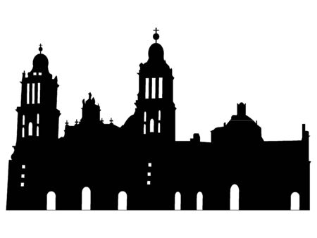 Black Silhouette of Symbol of Mexico City -  Metropolitan Cathedral  イラスト・ベクター素材