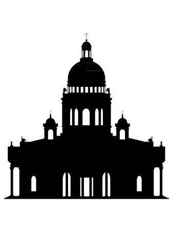 Black Silhouette of Symbol of Saint Petersburg - St. Isaac's Cathedral Illustration