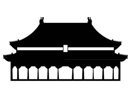 Black Silhouette of Symbol of Beijing - Forbidden City