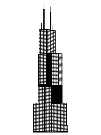 Black Silhouette of Symbol of Chicago - Willis (Sears) Tower