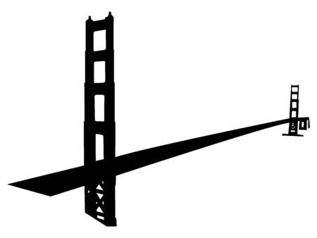 Black Silhouette of Symbol of San Francisco - Golden Gate Bridge Ilustrace