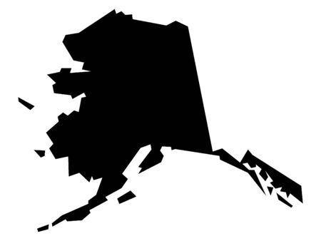 Simplified Black on White Map of USA Federal State of Alaska Иллюстрация