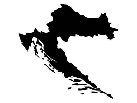 Black Silhouette Map of Croatia