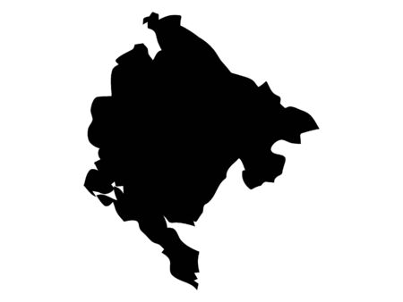 Black Silhouette Map of Montenegro