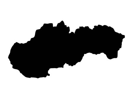 Black Silhouette Map of Slovakia