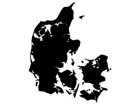 Zwarte silhouetkaart van Denemarken
