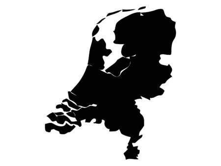 Black Silhouette Map of Netherlands