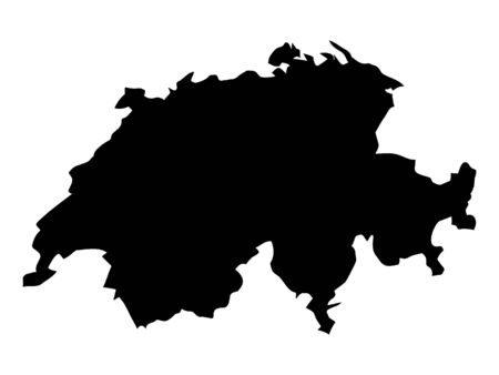 Black Silhouette Map of Switzerland