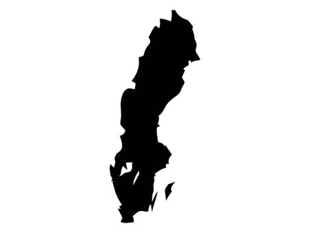 Black Silhouette Map of Sweden Stock Illustratie
