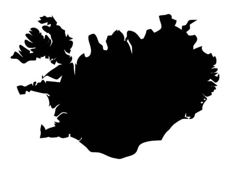 Black Silhouette Map of Iceland Ilustracja