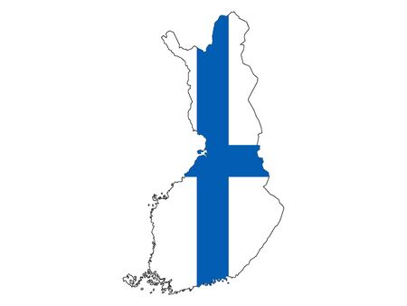 Silhouette Map and Flag of Finland Çizim