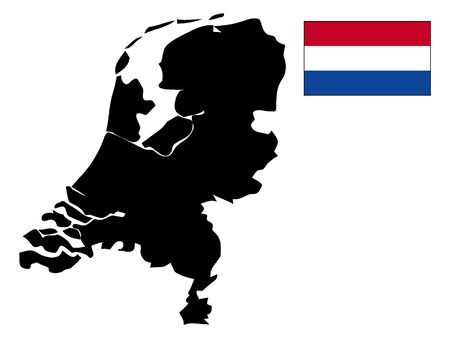 Black Silhouette Map and Flag of Netherlands 向量圖像