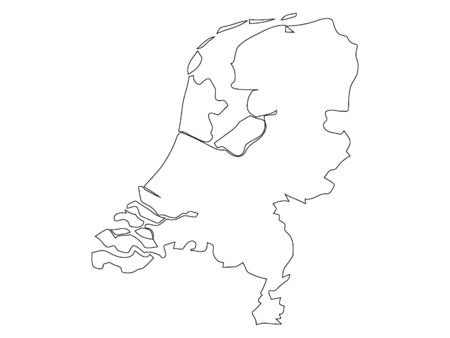 White Outlined Silhouette Map of Netherlands