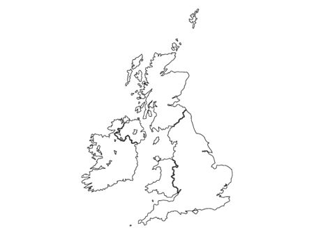 White Outlined Silhouette Map of United Kingdom and Ireland