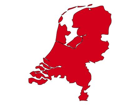 Red  Silhouette Map of Netherlands