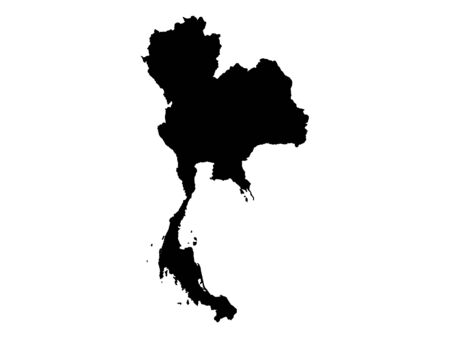 Black Silhouette Map of Thailand 向量圖像