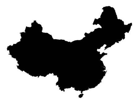 Black Silhouette Map of China Archivio Fotografico - 133966278