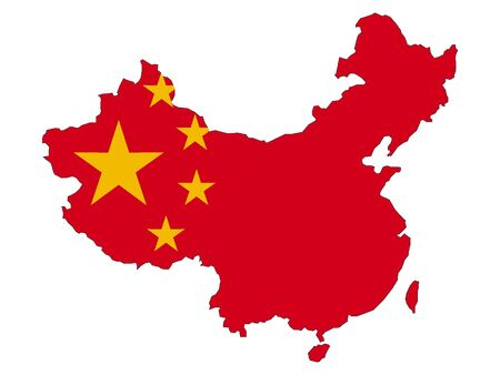 Silhouette Map and Flag of China