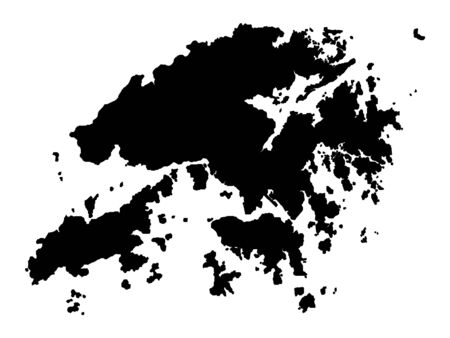 Black Silhouette Map of Hong Kong Vectores