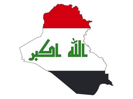 Silhouetkaart en vlag van Irak