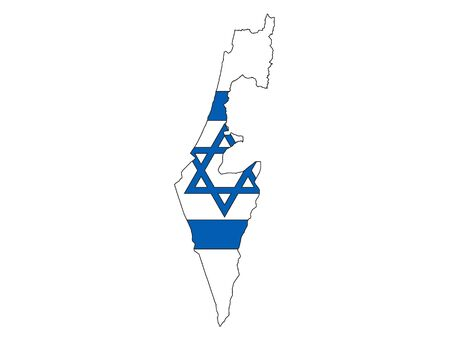 Silhouette Map and Flag of Israel