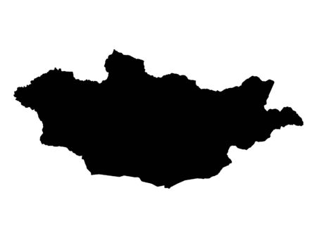 Black Silhouette Map of Mongolia