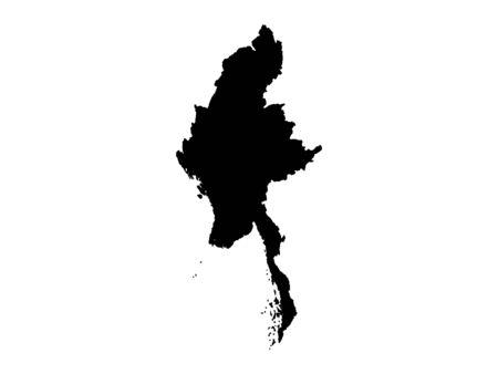 Black Silhouette Map of Myanmar