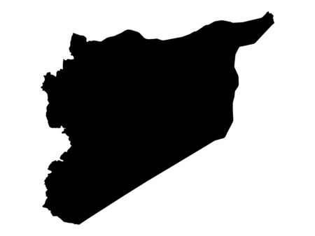 Black Silhouette Map of Syria Illustration