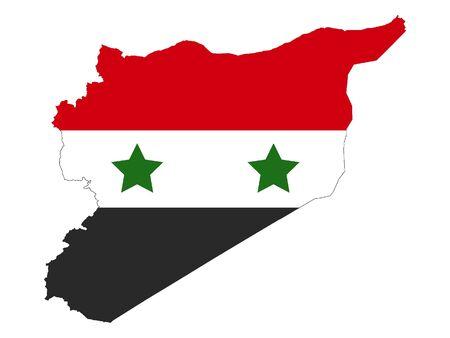 Carte de la silhouette et drapeau de la Syrie