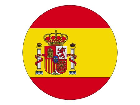 Flat Round Flag of the European Country of Spain Çizim