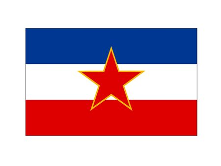 Flat Flag of the European Country of Yugoslavia
