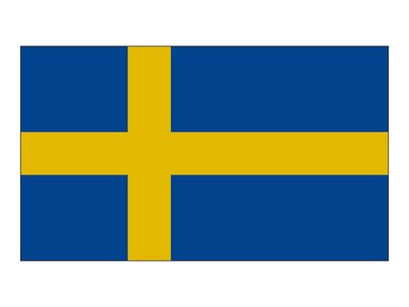 Flat Flag of the European Country of Sweden 向量圖像