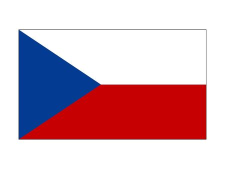 Flat Flag of the European Country of Czechia