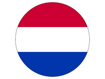 Round Flat Flag of the European Country of Netherlands