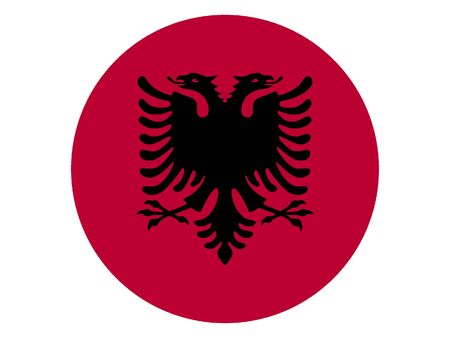 Round Flat Flag of the European Country of Albania Illustration