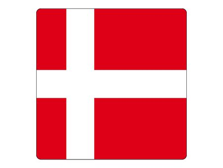 Square Flat Flag of the European Country of Denmark Ilustrace