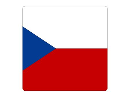 Square Flat Flag of the European Country of Czech Republic 向量圖像