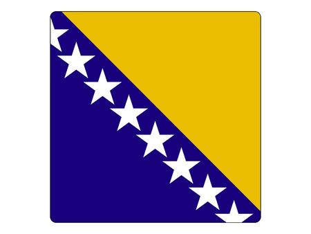 Square Flat Flag of the European Country of Bosnia and Herzegovina