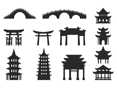 Einfache schwarze flache Zeichnung eines japanischen Architektur-Tempel-Struktur-Sets