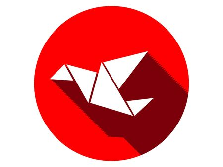 Red Japanese Culture Symbol of an Origami Bird
