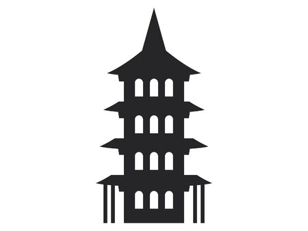 Simple Black Flat Drawing of a Japanese Architecture Temple Structure