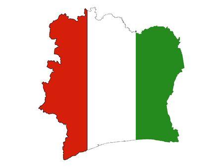 Flag Within Map of Ivory Coast